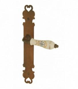 Ensemble de poignées de porte FLORENCE fer forgé et porcelaine de LIMOGES beige