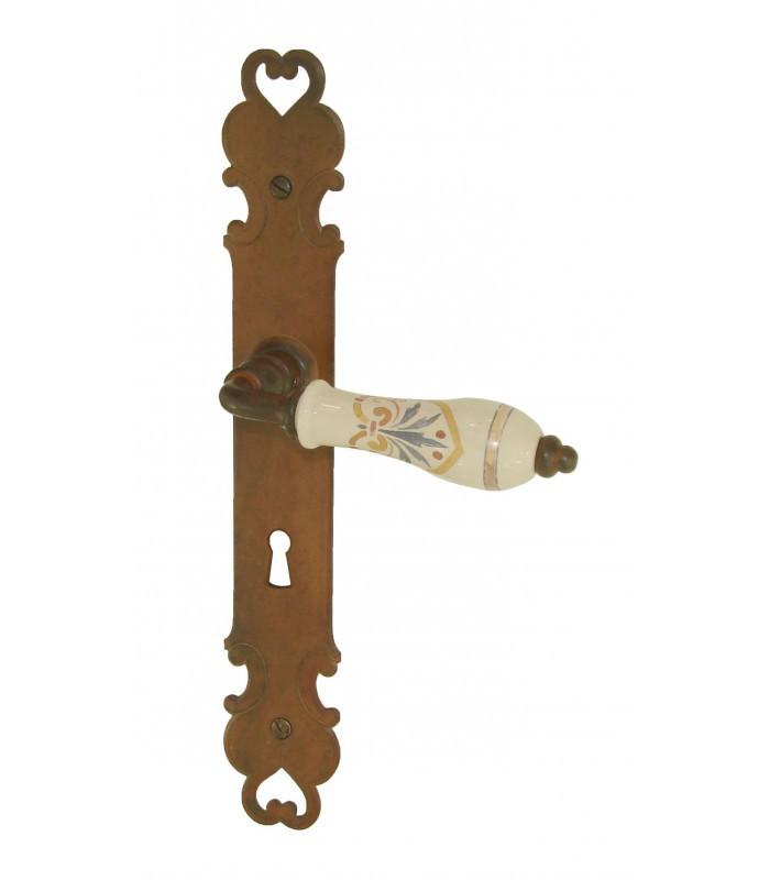 Ensemble de poign es de porte florence fer forg et porcelaine de limoges beige 1001poign es for Poignee de porte forge