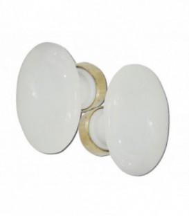 Poignée double OVALE porcelaine de LIMOGES blanche/laiton poli grand modèle