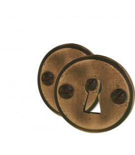 Rosaces de fonction SARLAT fonte noire trou serrure finition cuivre