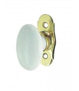 Poignée de fenêtre OVALE  GM porcelaine de LIMOGES blanc/laiton poli
