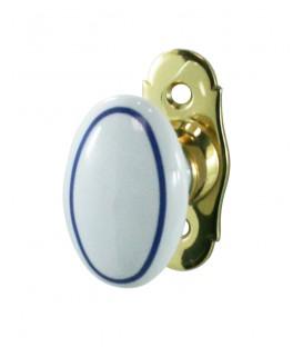 Poignée de fenêtre OVALE Filet bleu porcelaine de LIMOGES