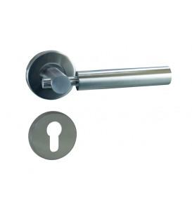 Poignée de porte PIPE-LINE sur rosace trou cylindre Inox mat