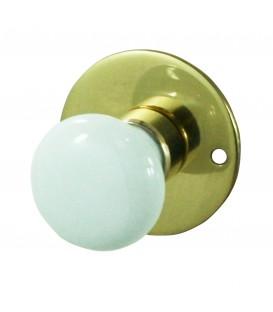 Rosace de fonction laiton poli verni conda bouton rond porcelaine