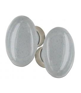 Poignée double OVALE pour porte intérieure porcelaine de LIMOGES CIMENT sur cuvette nickelée brossée