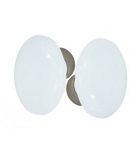Ensemble de poignées double OVALE porcelaine de LIMOGES Blanc sur une cuvette nickelée brossée