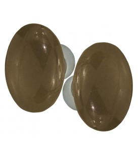 Poignées double OVALE porcelaine TAUPE/nickelée brossée
