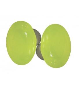 Poignée double OVALE pour porte intérieure porcelaine de LIMOGES Vert ANIS sur cuvette nickelée brossée