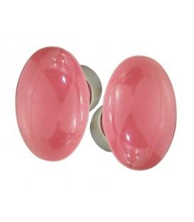 Poignée double OVALE pour porte intérieure porcelaine de LIMOGES Rose Framboise