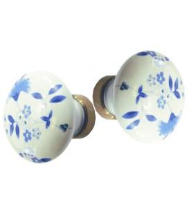 Bouton double DELPH ROND en porcelaine décoration bleu