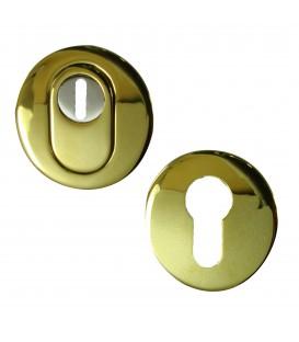 Set Rosace rond de Sécurité clé I en Inox doré titane.