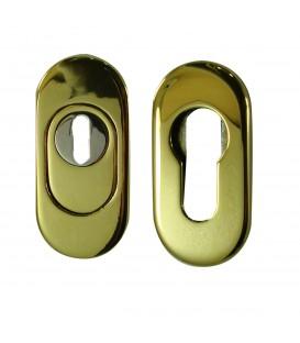 Set Rosace oblongue de Sécurité clé I en Inox doré titane.