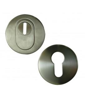 Set Rosace ronde de Sécurité clé I en Inox mat.