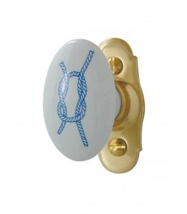 Poignée de fenêtre BORD DE MER porcelaine de LIMOGES sur platine laiton poli