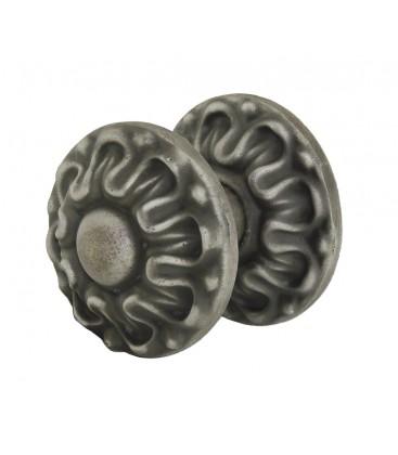 Bouton de tirage ou pommeau DALHIA fonte noir pour porte d'entrée