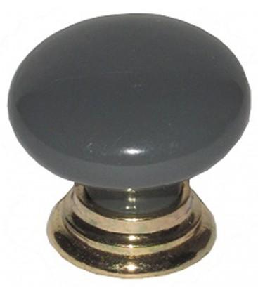 Bouton de meuble Zamack gris foncé embase dorée D.30