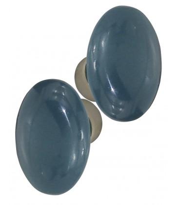 Poignée double OVALE pour porte intérieure porcelaine de LIMOGES Bleu cendré sur cuvette nickelée brossée