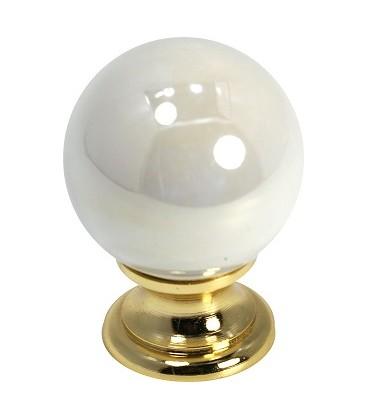 Bouton de meuble céramique perlée embase dorée D.32