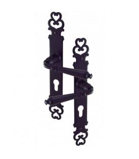 Poignées de porte d'entrée MANOIR cylindre fer gris ou noir 195