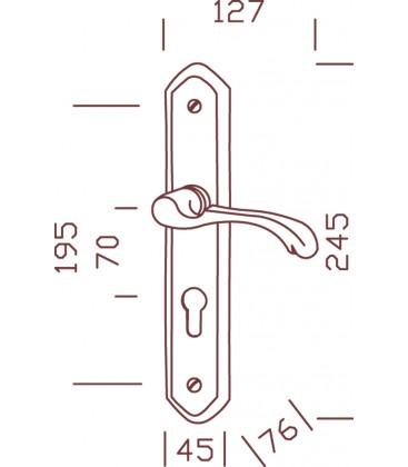 1/2 poignée de porte d'entrée CLASSIQUE à droite laiton poli