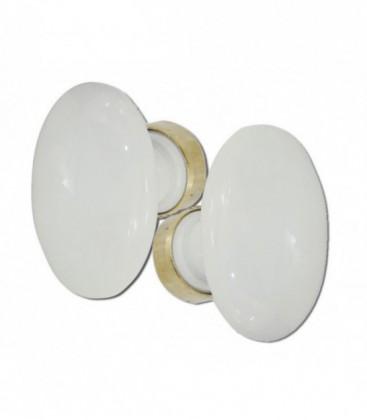 Poignée double OVALE porcelaine de LIMOGES blanche/laiton poli C.6 à goupiller