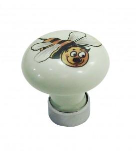 Bouton de meuble en porcelaine BLANC décor abeille D.30mm