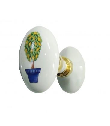 Poignée double OVALE menton porcelaine de LIMOGES blanche sur laiton poli