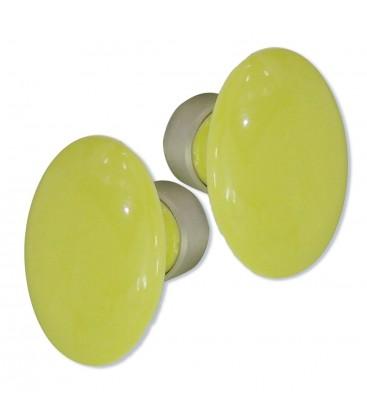 Poignée double OVALE pour porte intérieure porcelaine de LIMOGES JAUNE sur cuvette nickelée brossée