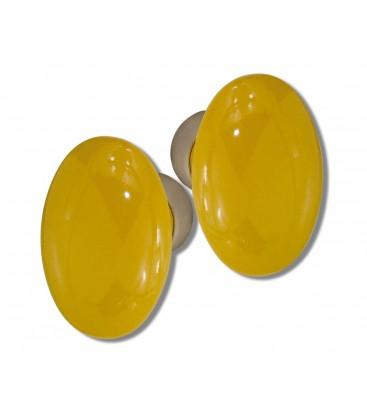 Poignée double OVALE pour porte intérieure porcelaine de LIMOGES JAUNE OR sur cuvette nickelée brossée