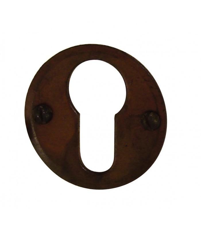 Ensemble de poign e de porte sur rosace provence trou cylindre fer forg rouill et porcelaine for Poignee de porte forge