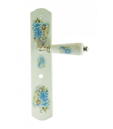 1/2 poignée de porte OLIVE sur plaque en porcelaine décor fleur déconda