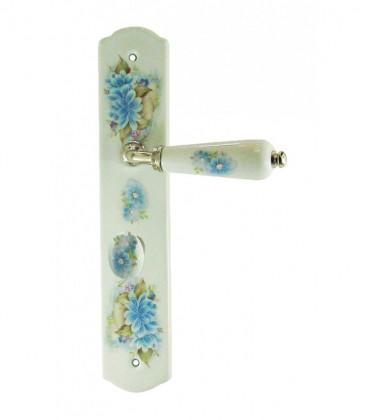 1/2 poignée de porte OLIVE sur plaque en porcelaine décor fleur conda