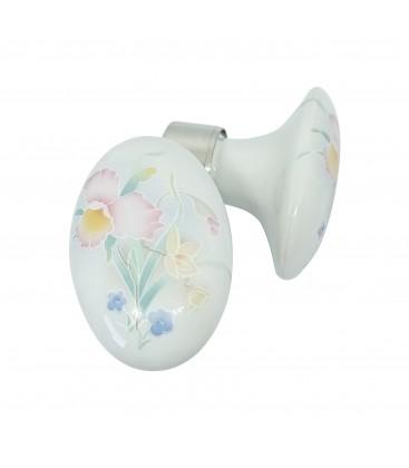 Poignées double OVALE porcelaine de LIMOGES Blanc/nickelée SPRING FLOWERS