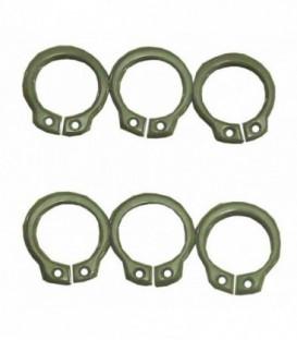 6 circlips ou anneaux à montage axial D.14mm, acier noir