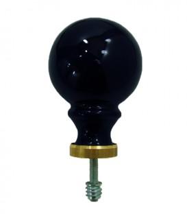 Boule de rampe d'escalier Noir brillant ø 80 mm en porcelaine de Limoges sur embase laiton