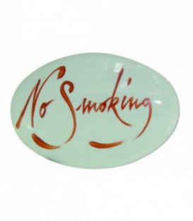 "Plaque signalétique ""No smoking"" lettrage sanguin porcelaine de LIMOGES"