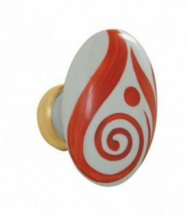 Bouton simple ovale VOLUTE orange pour porte intérieure porcelaine de LIMOGES