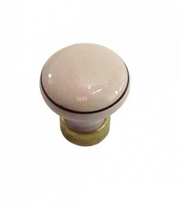 Bouton de meuble D.35mm en porcelaine rose filet marron