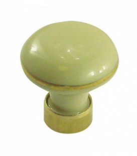 Bouton de meuble en porcelaine IVOIRE filet or D.35mm
