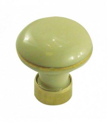 Bouton de meuble en porcelaine IVOIRE filet or D.35mm