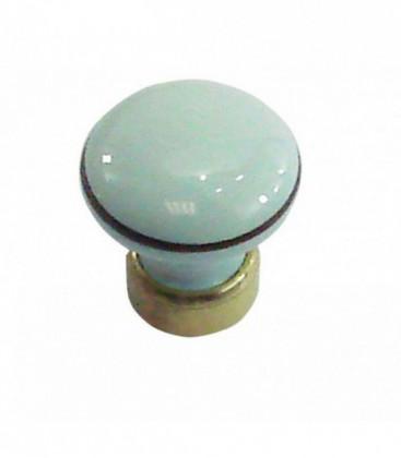 Bouton de meuble en porcelaine BLEU filet marron D.35mm