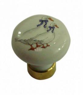 Bouton de meuble D.35mm en porcelaine BLANC décors OIES