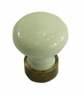 Bouton de meuble BLANC en porcelaine D.25mm