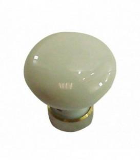 Bouton de meuble BLANC en porcelaine D.35mm