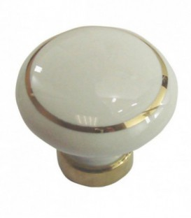 Bouton de meuble BLANC filet OR en porcelaine D.50mm