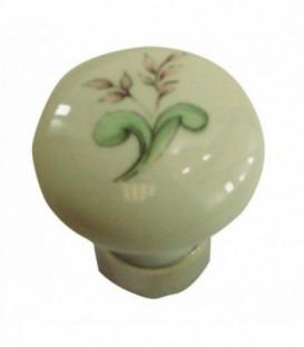 Bouton de meuble PALME VERT en porcelaine D.35mm