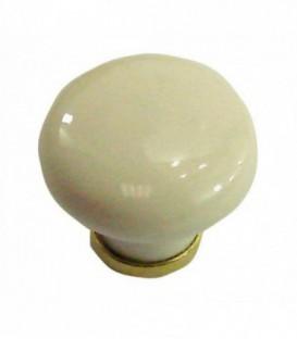 Bouton de meuble IVOIRE ROSÉ en porcelaine D.30mm