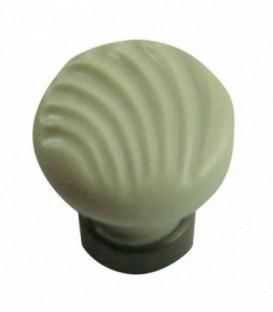Bouton de meuble RELIEF blanc mat en porcelaine D.30mm