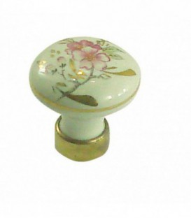 Bouton de meuble en porcelaine, filet OR motif Fleur D.35mm