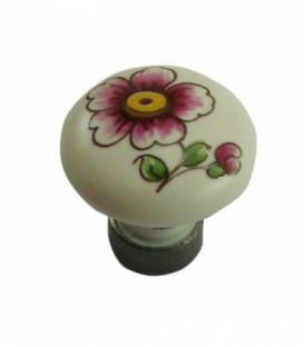 Bouton de meuble en porcelaine BLANC décor vieux Strasbourg D.35mm